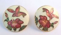 Vintage Large Circular Shaped Cloisonne Enamel Hummingbird Flower Earrings.